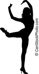 silhouette, frau, tanz