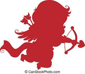 silhouette, freccia, cupido, arco