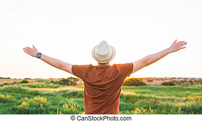 Silhouette freedom man rise hands up inspire good morning. Christian worship praise God in thanksgiving day.