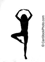 silhouette, freigestellt, stange, tänzer, sexy, weißes