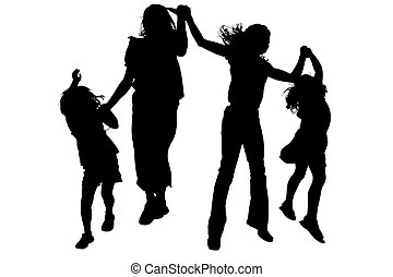Silhouette Friends - Silhouette over white with clipping...