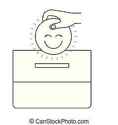 silhouette front view hand with flat happy face depositing in a carton box