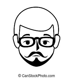 silhouette front view man with moustache and glasses vector ...