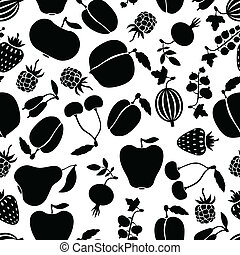 Silhouette fruits and berries pattern seamless