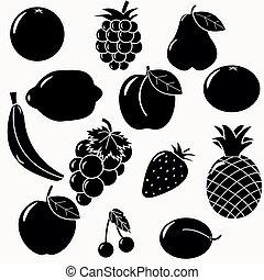 silhouette, frutte