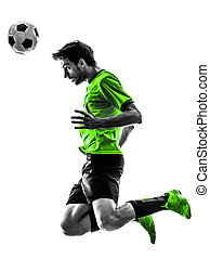 silhouette, fußball, junger, spieler, fußball, überschrift, mann
