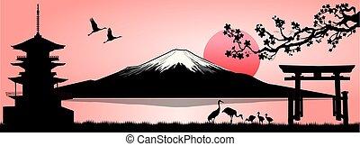 Landscape, Mount Fuji - Silhouette Fuji mountain at sunset....