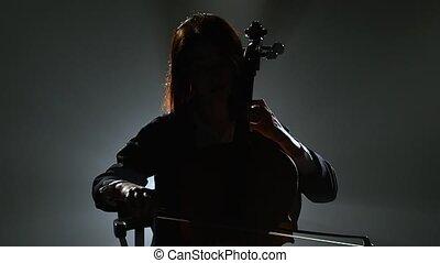 silhouette, fumée, musicien, sombre, studio, violoncelle, fond, noir