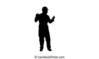 Silhouette Funny dancing construction worker, architect,...