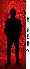silhouette, fuoco, scintille, dietro, inferno, rosso, uomo