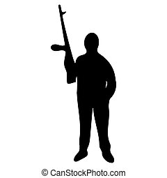 silhouette, fusil, homme