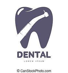 silhouette, gabarit, dentaire, dent, forme, foret, logo, sur, soin