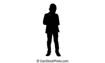 silhouette, games., jouer, intelligent, garçon, images, ...