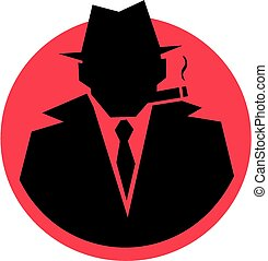 Silhouette gangster - A badge type image of a silhouette...