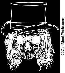 silhouette Gangster skull tattoo. Death head with hat vector