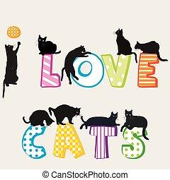 silhouette, gatti, amore, scheda