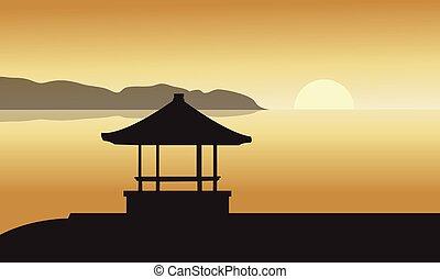 silhouette, gazebo, coucher soleil