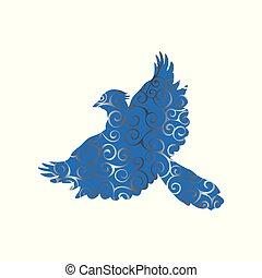 silhouette, geai, couleur, modèle, spirale, animal, oiseau