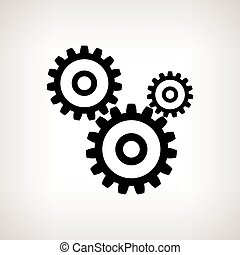 Silhouette gears on a light background , vector illustration