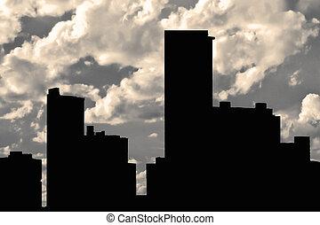 silhouette, gebäude, bewölkt , hintergrund, himmelsgewölbe