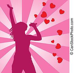 silhouette, gefärbt, hintergrund., vektor, weibliche , singende