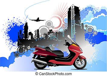 silhouette, gekleurde, illustratie, vector, motorfiets, cityscape, grunge, image.