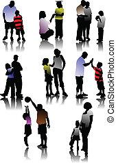 silhouette, genitori, bambini