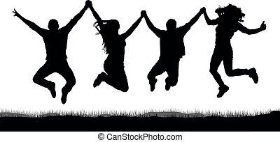 silhouette, gens, amis, tenant mains, sauter, heureux