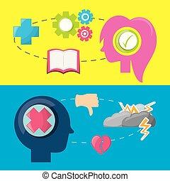 silhouette, gens, cerveau, mentalité, différent