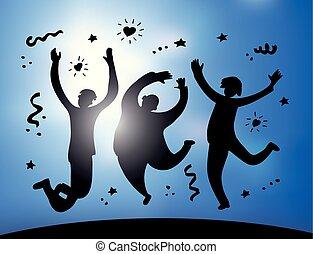 silhouette, gens, ciel, sauter, groupe, heureux