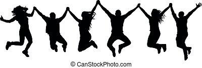 silhouette, gens, compagnie, sauter, amis, heureux