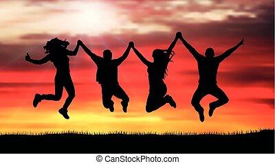 silhouette, gens, compagnie, sauter, coucher soleil, amis, heureux