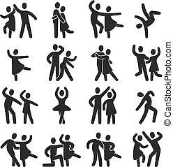 silhouette, gens, danse, moderne, icons., symboles, vecteur, danse, classe, heureux