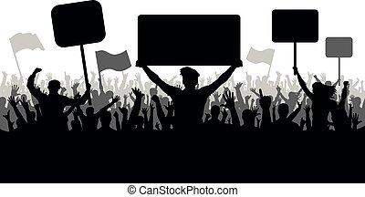 silhouette, gens, manifestation, grève, drapeaux, fâché, revolution., foule, foule, démonstration, fond, sports, vecteur, banners., fans., protestation, foule