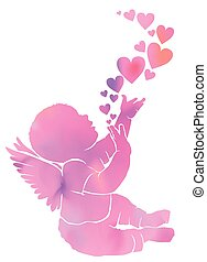 Silhouette gentle watercolor baby with wings and hearts