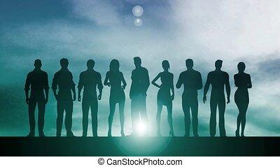 silhouette, geschäftsmenschen
