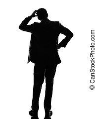 silhouette, geschaeftswelt, denken, zurück, mann, hintere ansicht