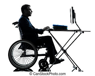 silhouette, geschaeftswelt, rechnen, laptop, eins, behindertes, edv, studio, hintergrund, weißes, mann