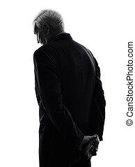 silhouette, geschaeftswelt, traurige , älter, ansicht, rückseite, mann