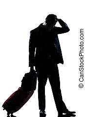 silhouette, geschaeftswelt, traurige , verzweiflung, reisender, mann