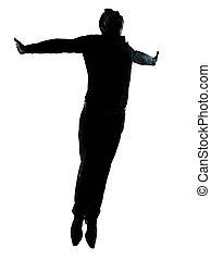 silhouette, geschaeftswelt, wohlfühlen, fliegendes, eins,...