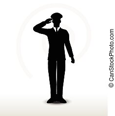 silhouette, geste, général, saluer, main, armée