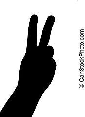 silhouette, geste, main