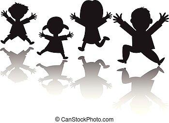 silhouette, gezin, -, springt, lucht, vier, vector, handen, vrolijke