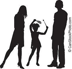 silhouette, gezin, vrolijke