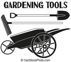 silhouette, giardino, toolls, set., nero, bianco, cura