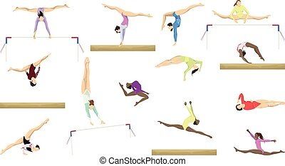 silhouette, ginnastica, set.