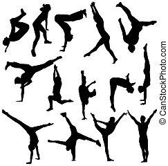silhouette, ginnastico, collezione