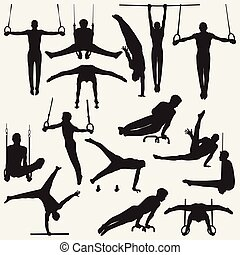 silhouette, ginnastico
