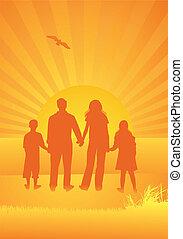 silhouette, giorno pieno sole, famiglia